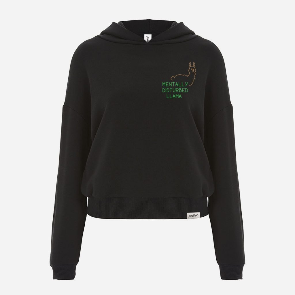 The MENTALLY DISTURBED LLAMA cropped hoodie