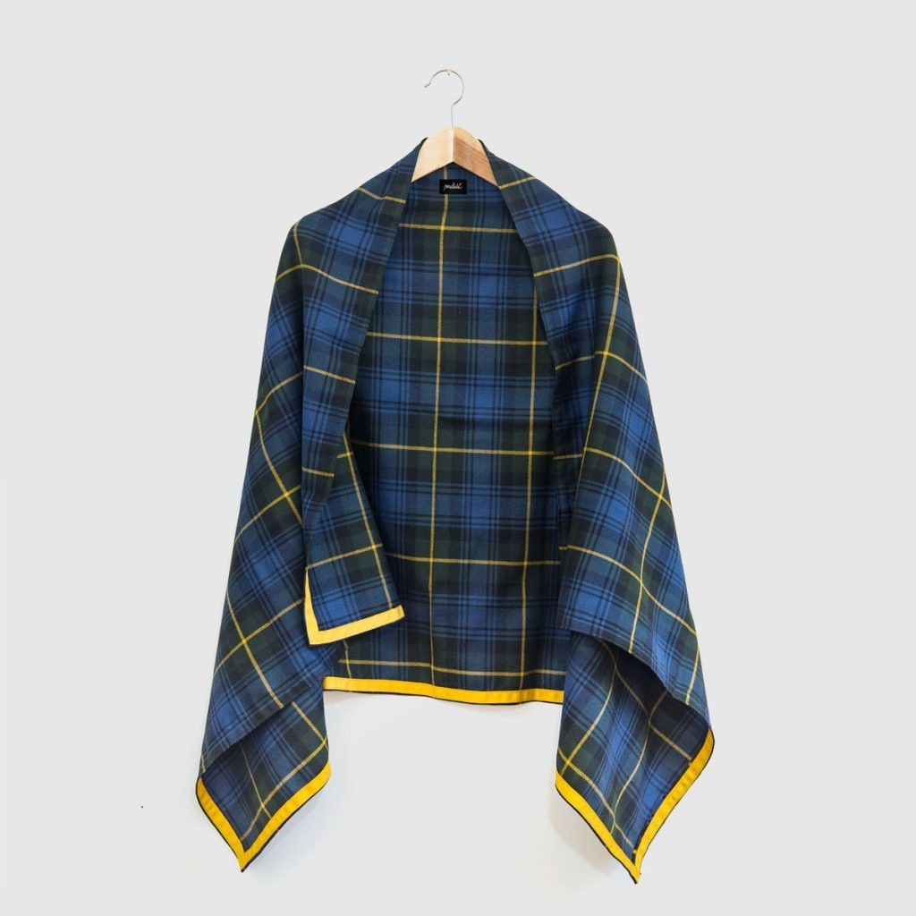 The PURE WOOL cape - blu quadri