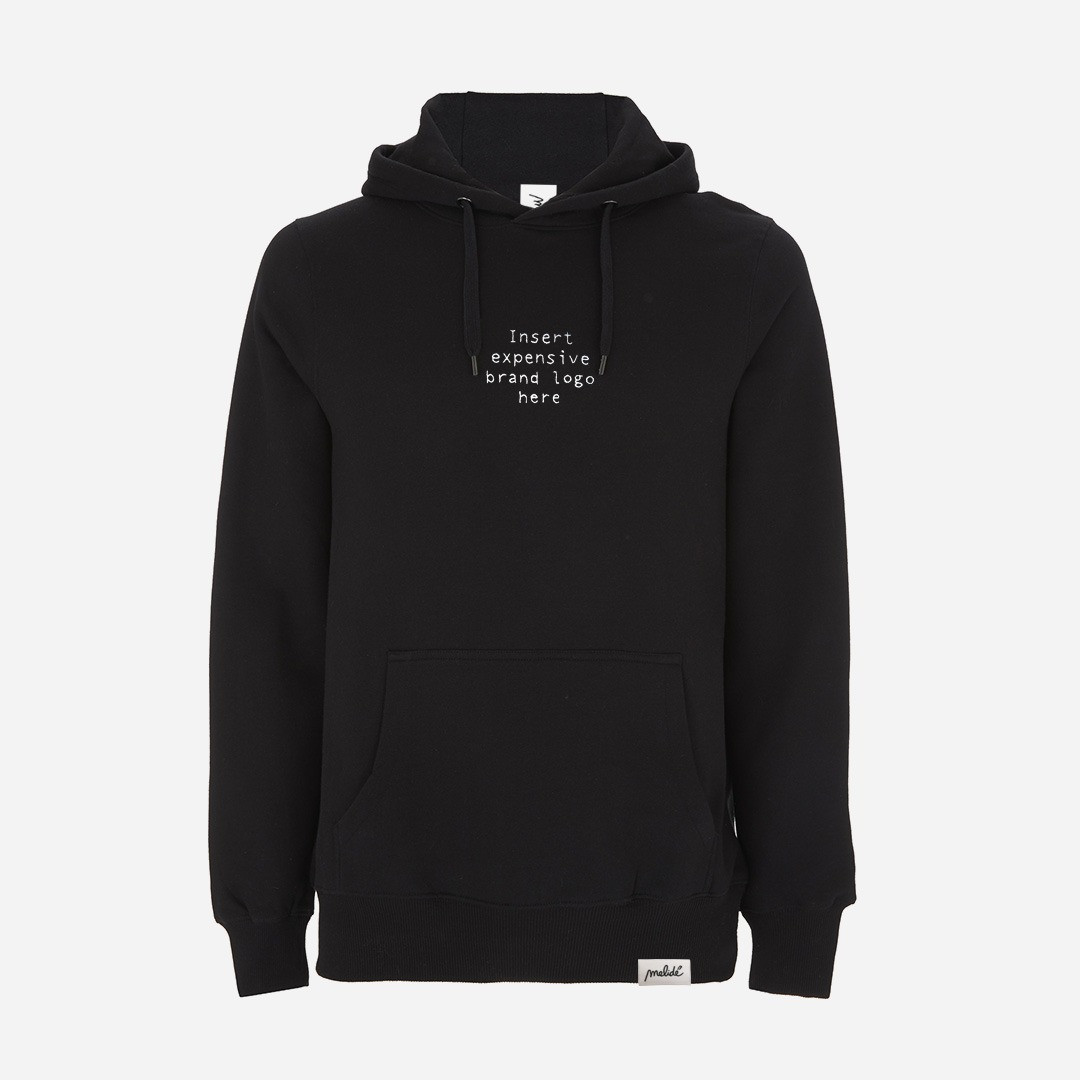 The INSERT EXPENSIVE BRAND LOGO hoodie
